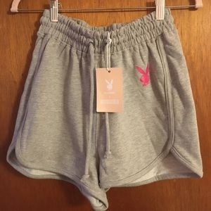 Missguided Shorts - Missguided Playboy Slogan Runner Shorts Size 6